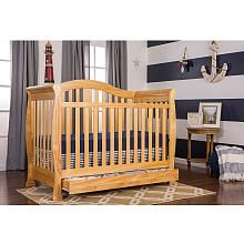 Dream On Me Addison 4 In 1 Convertible Crib With Toddler Rail And Storage Natural Convertible Crib Cribs Convertible Crib White
