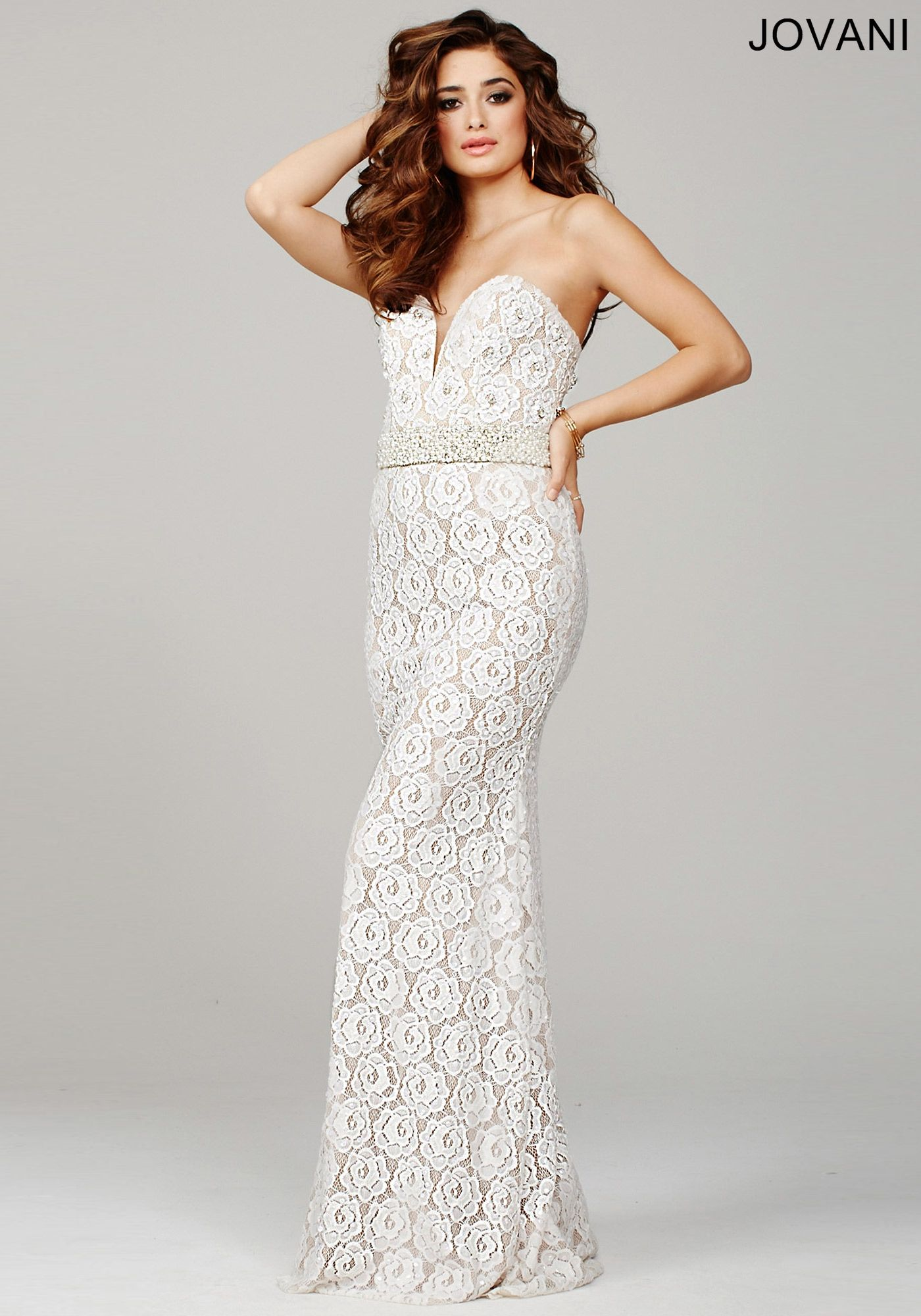 Sexy long lace dress with deep sweetheart neckline and jeweled belt