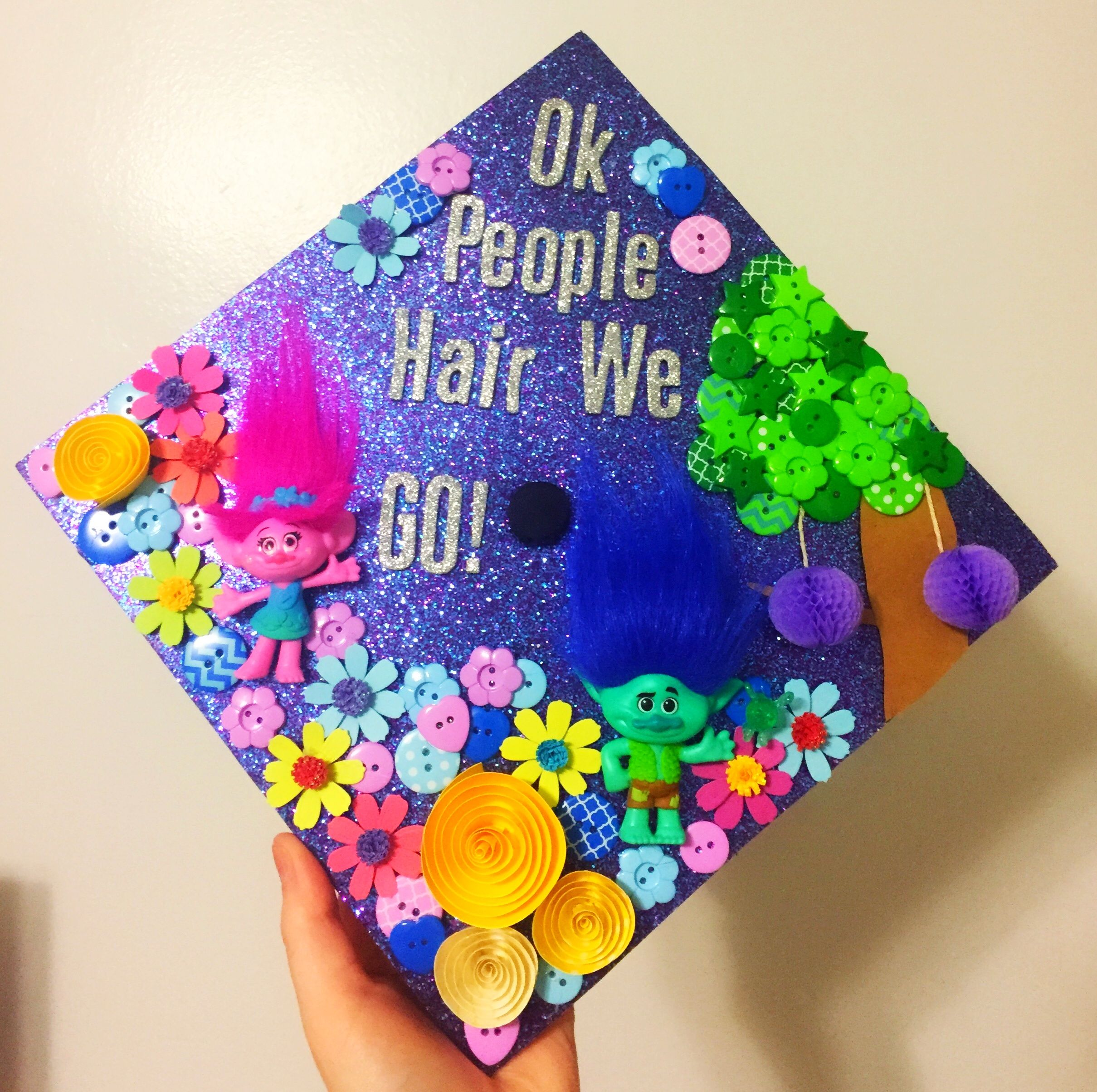 Marshall University 2017 Trolls Grad Cap Kindergarten Graduation Cap Graduation Cap Decoration Preschool Christmas
