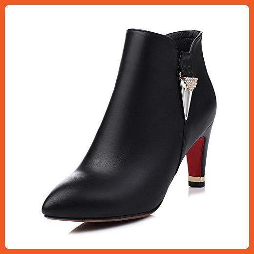 Women's High-Heels Pointed Closed Toe PU Low-Top Solid Zipper Boots Black-Rivet 37