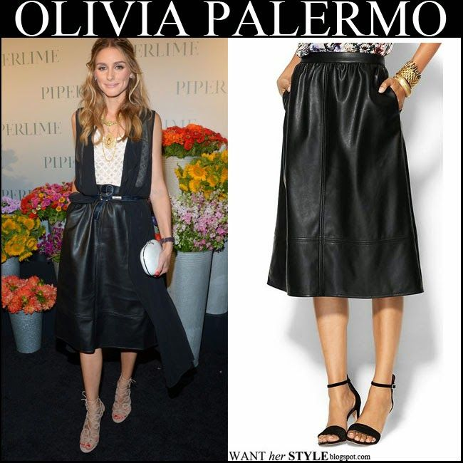 Olivia Palermo in black leather midi skirt with beige cutout ...