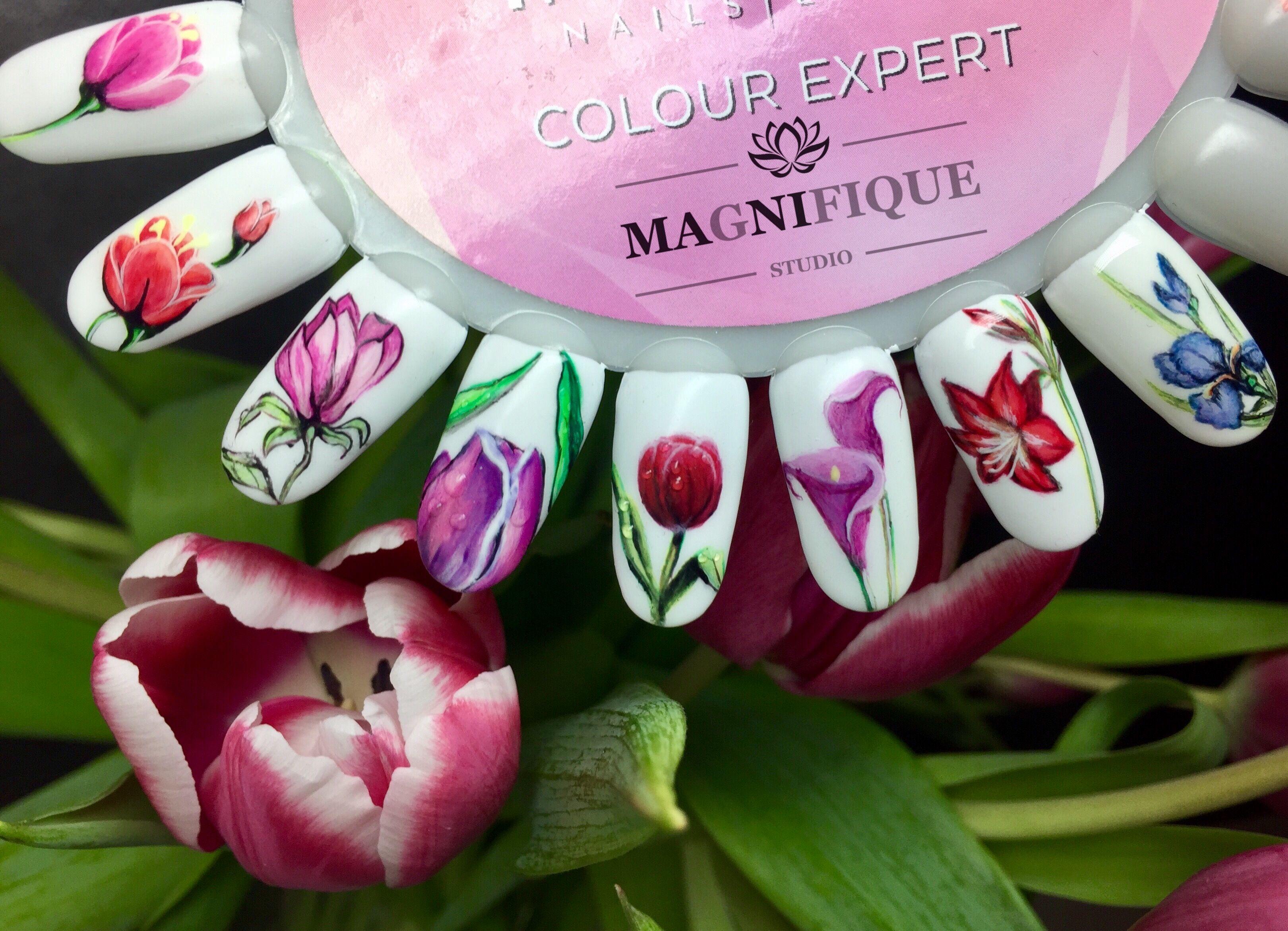 Wzornik Indigo nails. Micro painting flowers kwiaty na paznokciach ...