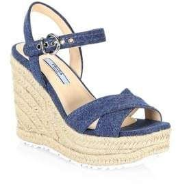 7254a6711143 Prada Denim  Raffia Wedge Sandals  women  sandals  fashion  fashionweek   gifts