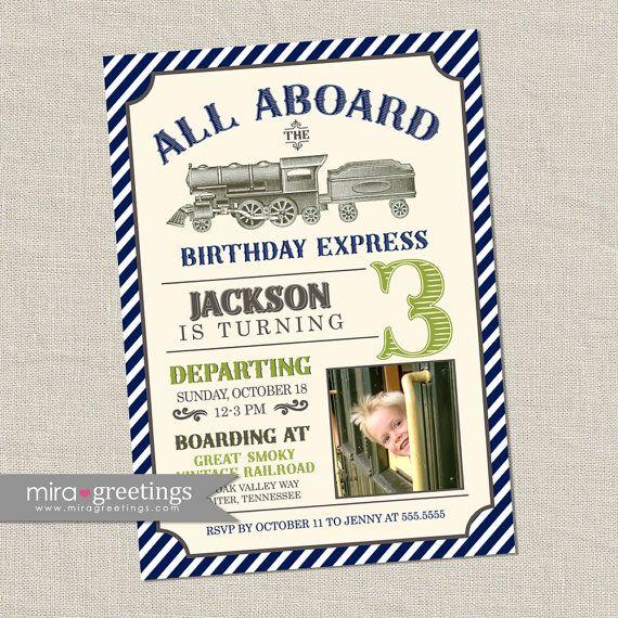 vintage train birthday party invitation all aboard train invite