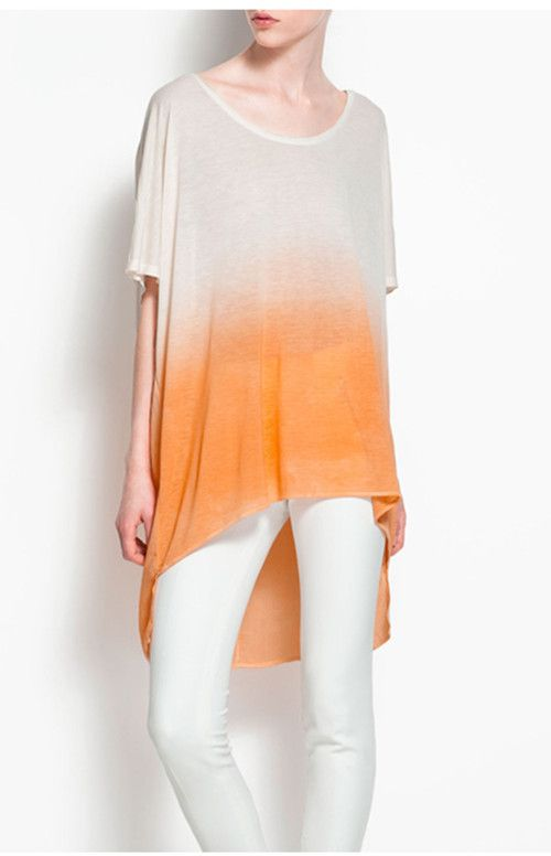 Gradient Yellow  Grey Loose Short-sleeve Shirt