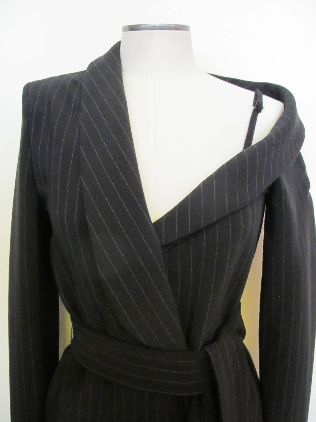Asymmetrical Jean Paul Gaultier Pinstripe Dress   From a collection of rare vintage day dresses at https://www.1stdibs.com/fashion/clothing/day-dresses/