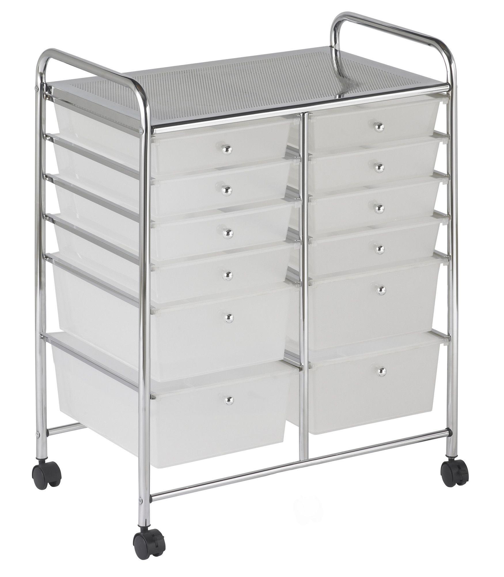 12 Drawer Storage Chest Mobile Organization Storage Drawers White Storage