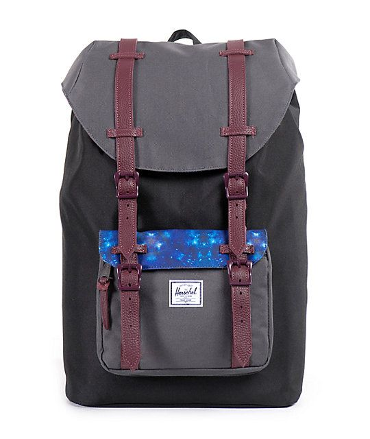 29143f168e8 A grey and black durable exterior is finished with burgundy full grain  leather strap detailing and contrast galaxy kaleidoscope print flap and  lining for a ...