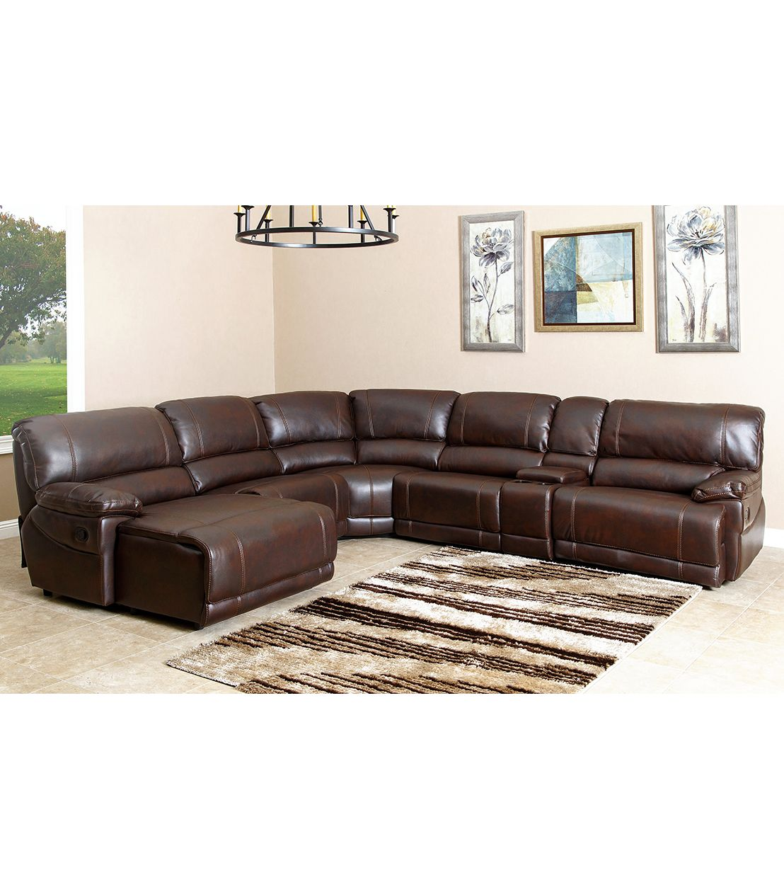 Excellent Abbyson Living Cooper Leather Sectional With Reclining Caraccident5 Cool Chair Designs And Ideas Caraccident5Info