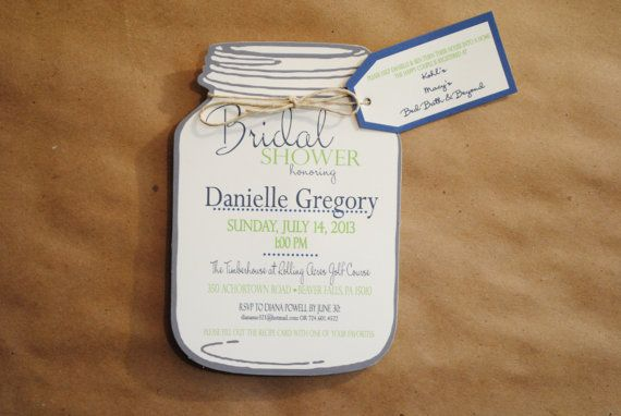 mason jar bridal shower invitations with registry by blueenvelope 250 absolutely adorable