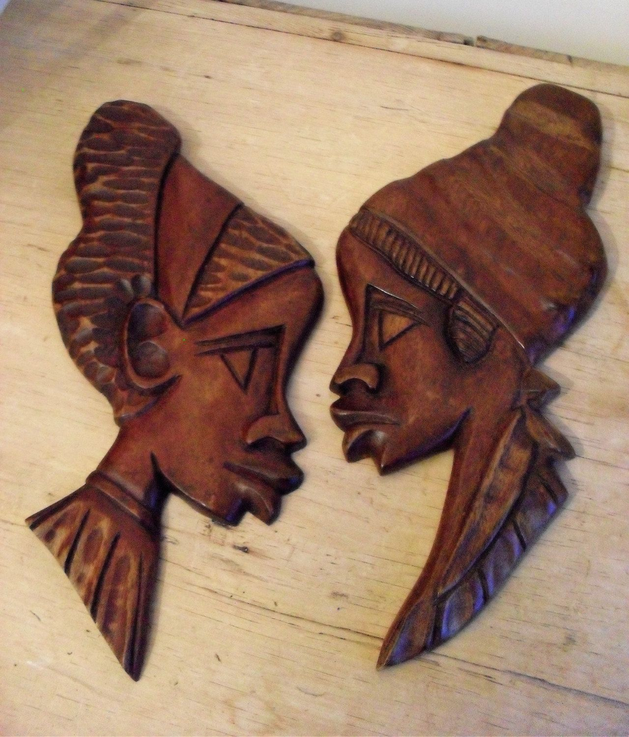 African Carvings Pair Figural Wall Hangings Hand Carved Wood Etsy African Carving African Decor Hand Carved Wood