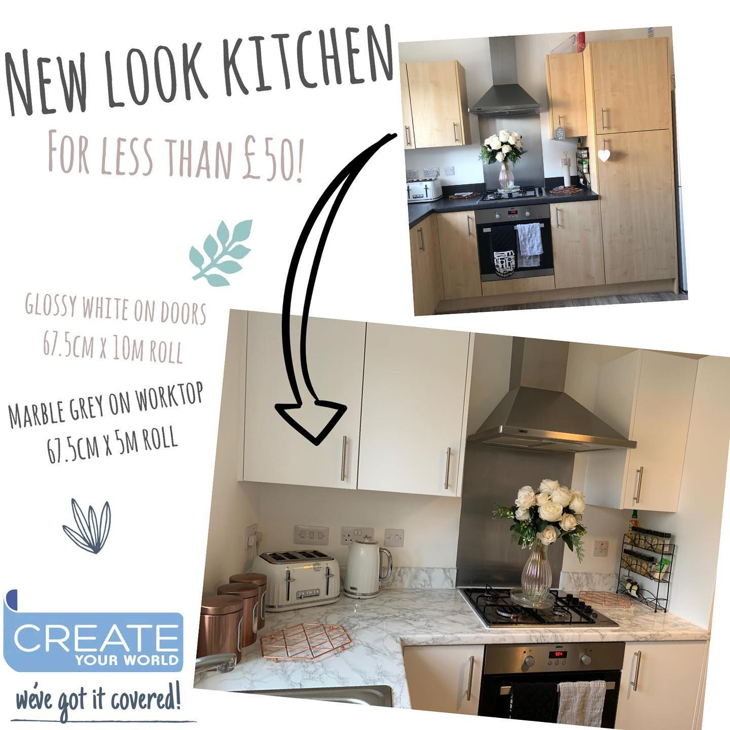 Who Needs A New Look Kitchen For A New Year Look How Home Atplot12 Transformed Their Beige Kitchen To A Li In 2020 Sticky Back Plastic Beige Kitchen Kitchen Makeover