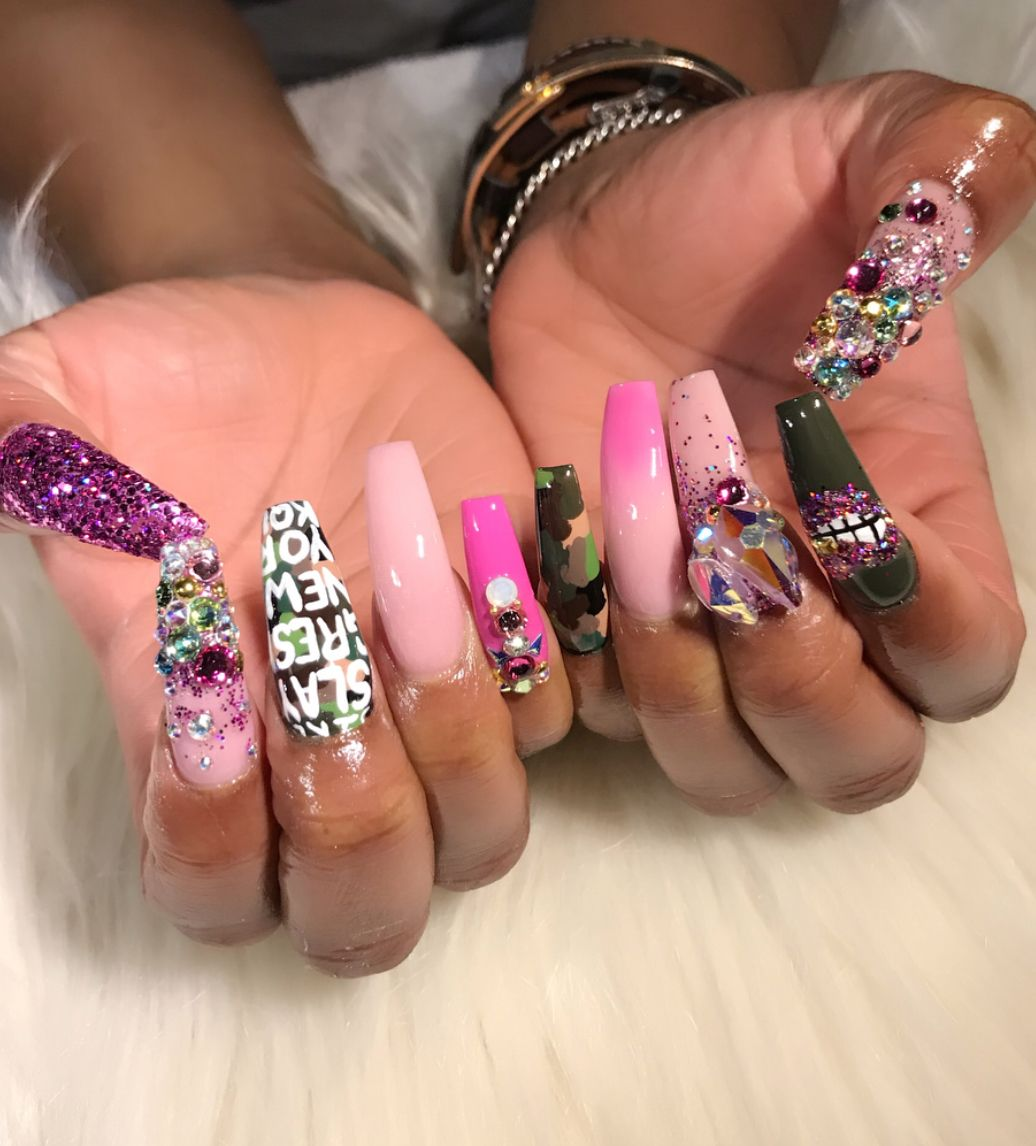 ❤Too cute bling nail art for long nails | ghetto nail art idea ...