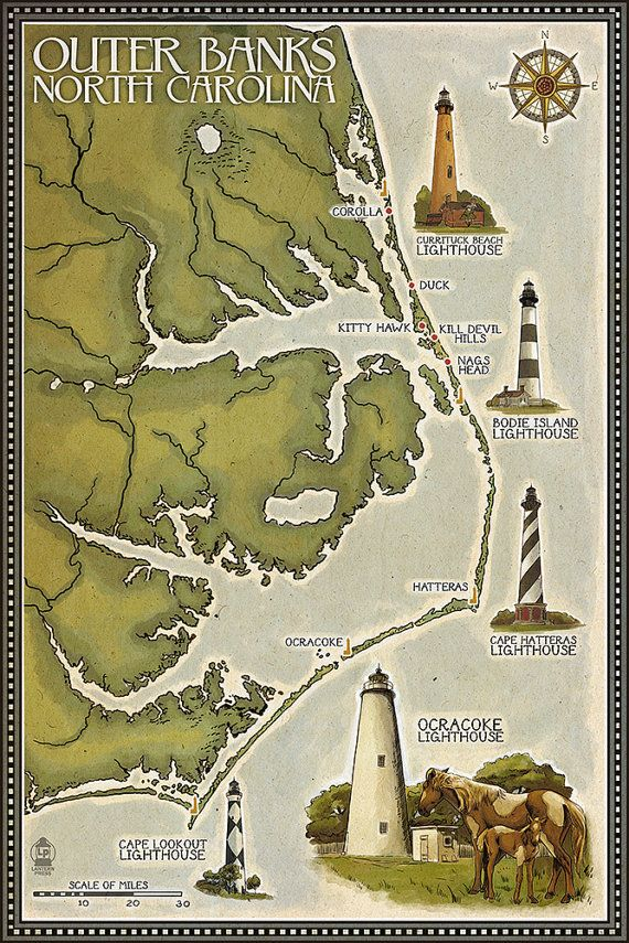 Lighthouse and Town Map  Outer Banks North Carolina Art Prints