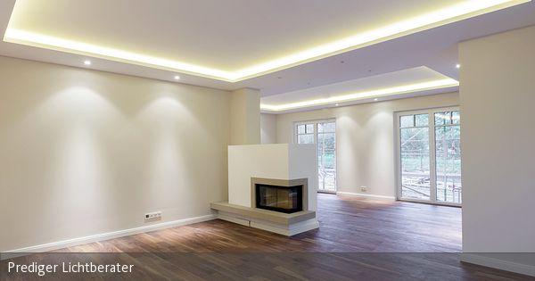 Lichtkonzept für das Wohn- und Esszimmer mit Voutenbeleuchtung in - esszimmer indirekte beleuchtung