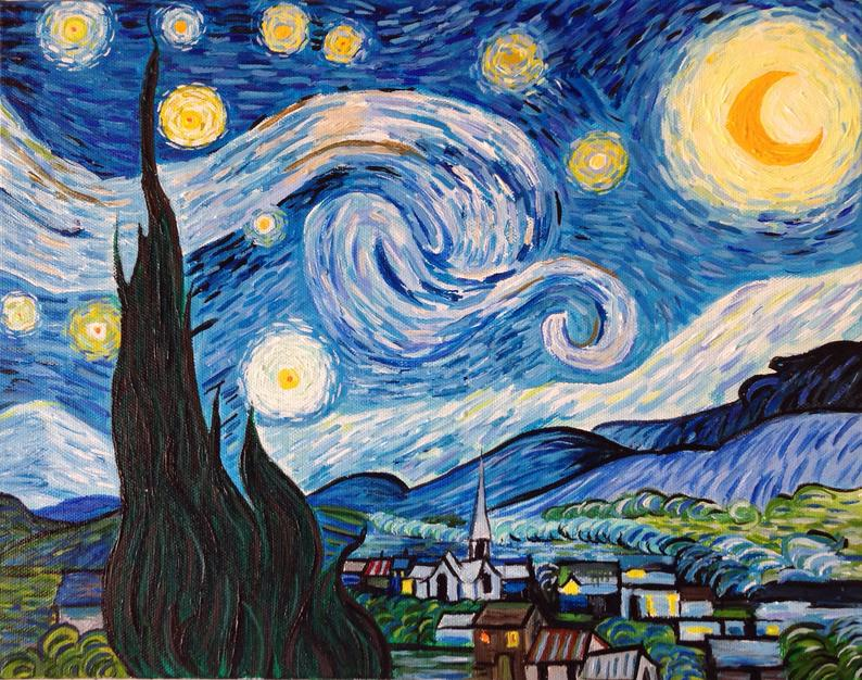 Hand Painted Vincent van Gogh Starry Night Painting Reproduction On Canvascanvacanvascanva