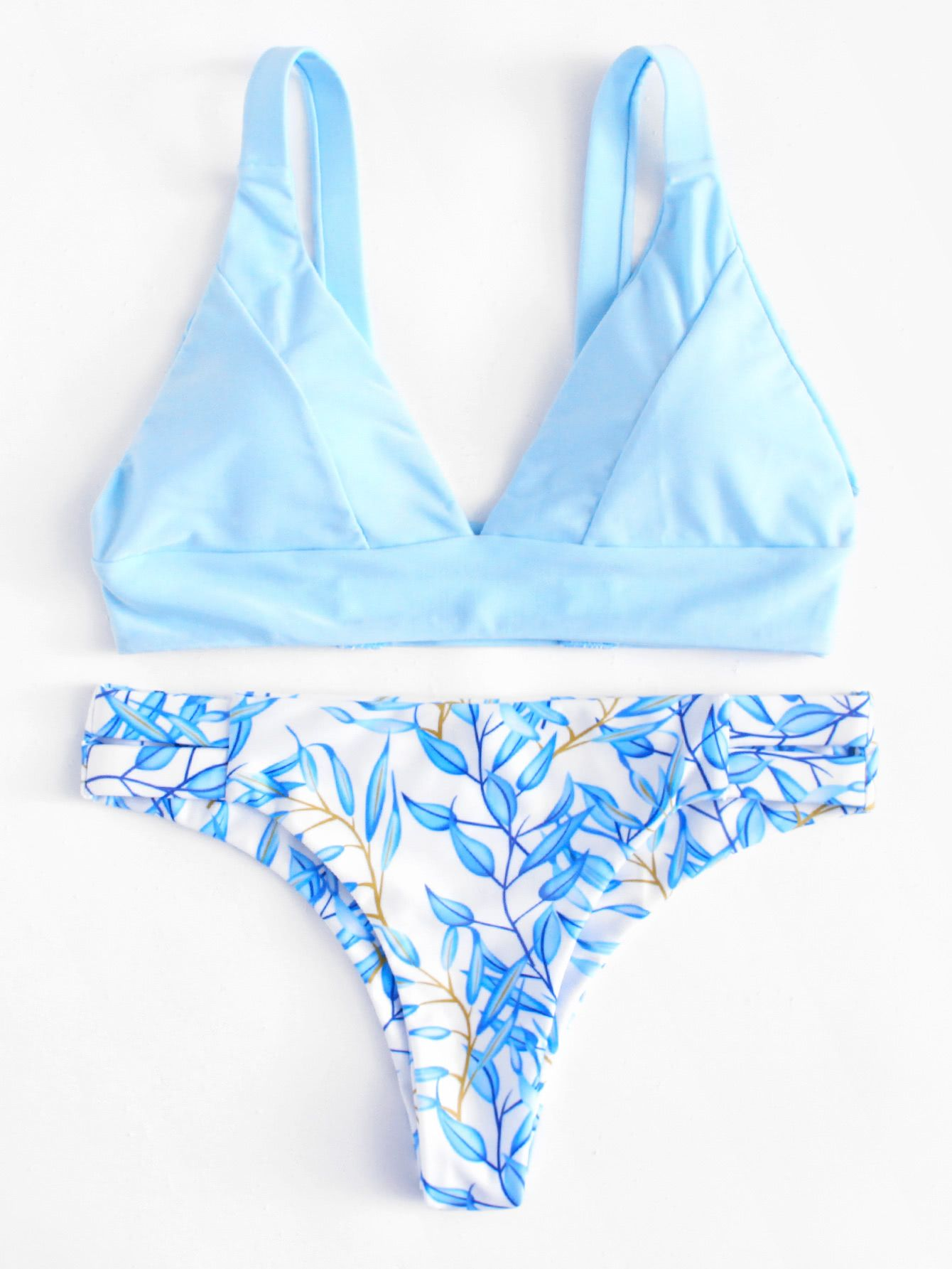 7dd383625e Leaf Print Bikini Set -SheIn(Sheinside) | summer in 2019 | Swimsuits ...