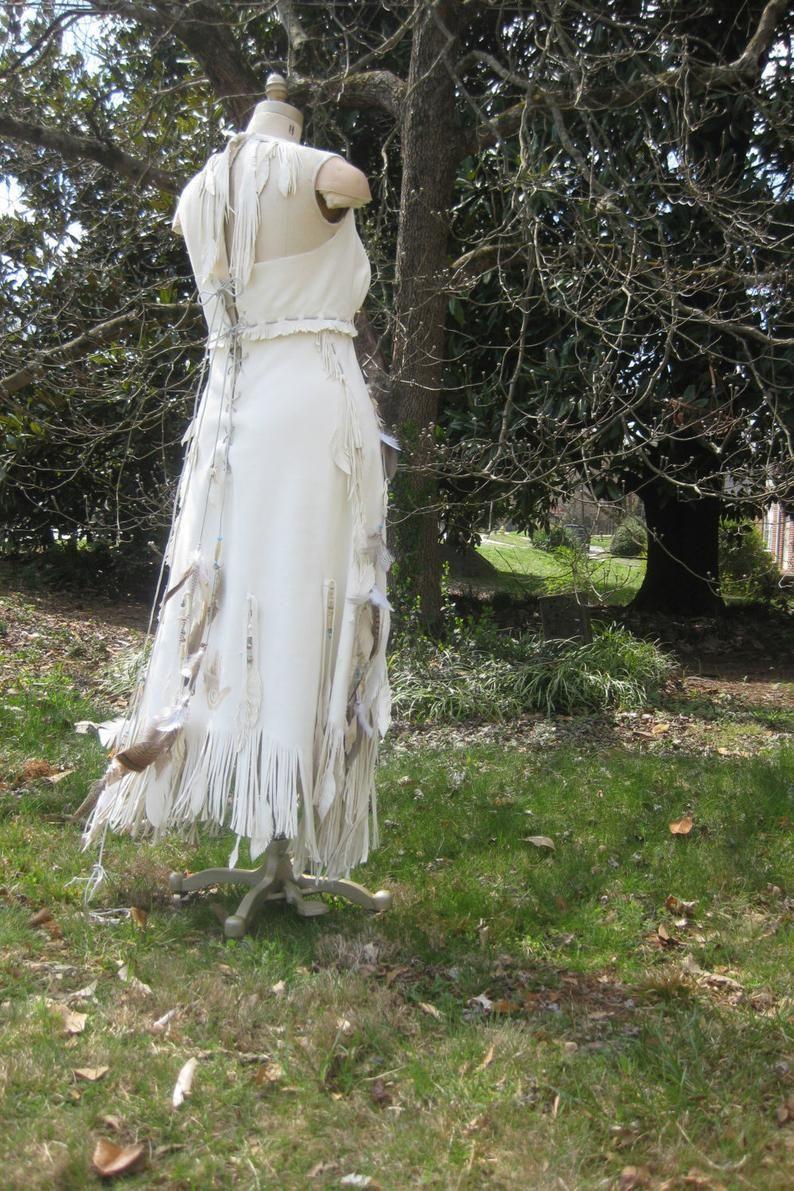 White Leather Wedding Dress Native American Inspired Boho Etsy Leather Wedding Dress White Leather Wedding Dress Wedding Dresses [ 1191 x 794 Pixel ]