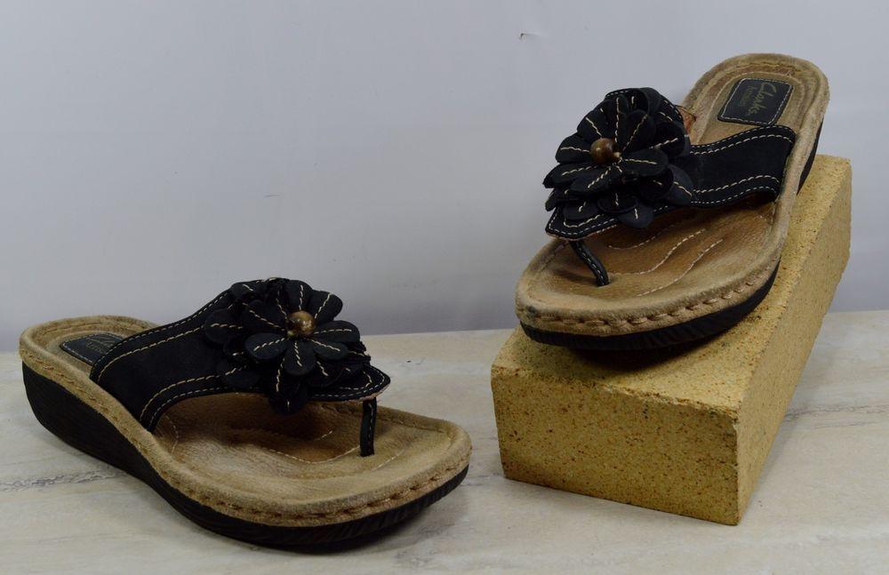 9fd63bdd7f7c Clarks Artisan Black Floral Wedge Flip Flops Sandals Women s Size 7.5 M   Clarks  FlipFlops