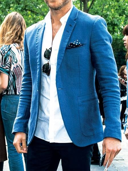 navy slacks. white oxford. blue blazer. navy pocket square. shades. awesome. casual. outdoor event. style.