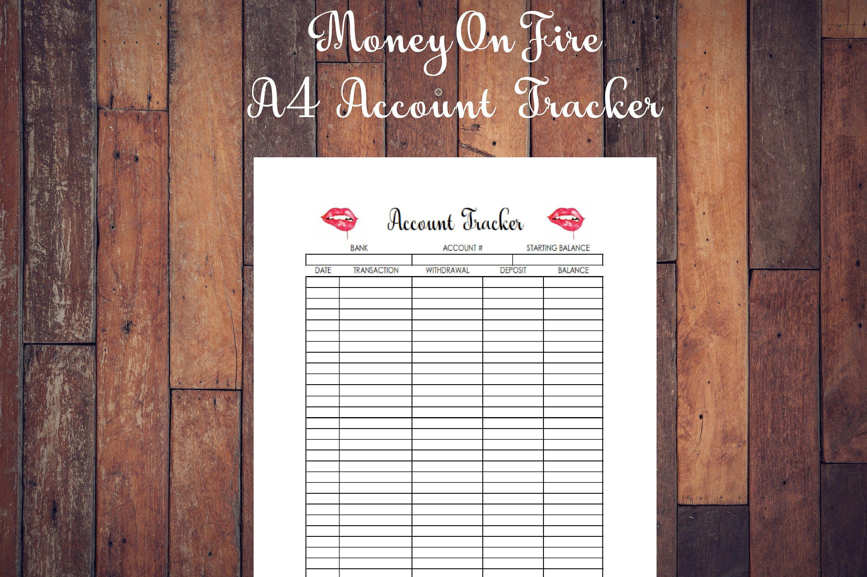 Account Tracker Printable Etsyprint Etsyprintable