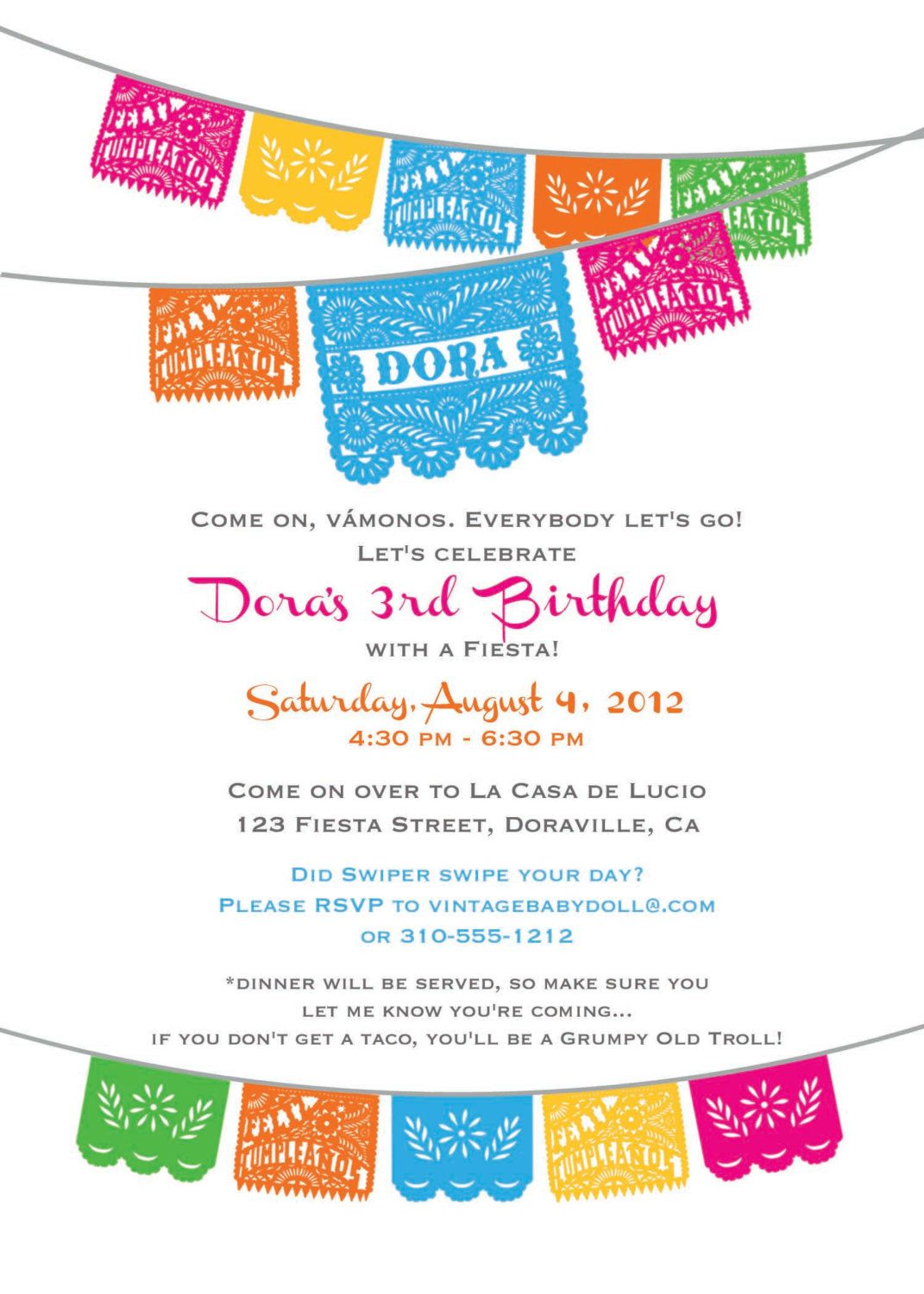 DORA BIRTHDAY Fiesta Invitation cinco de mayo by Vintagebabydoll ...
