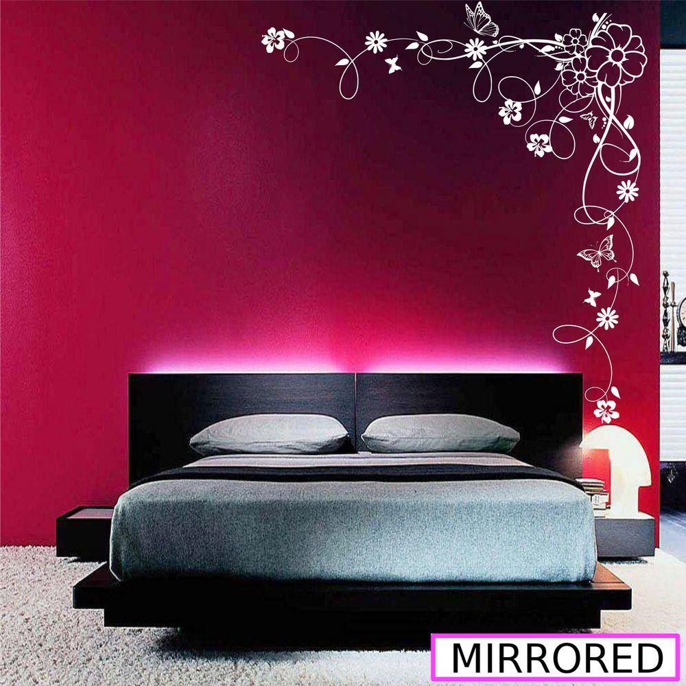 corner flower vine hibiscus wall art sticker vinyl transfer decal mural wsd679