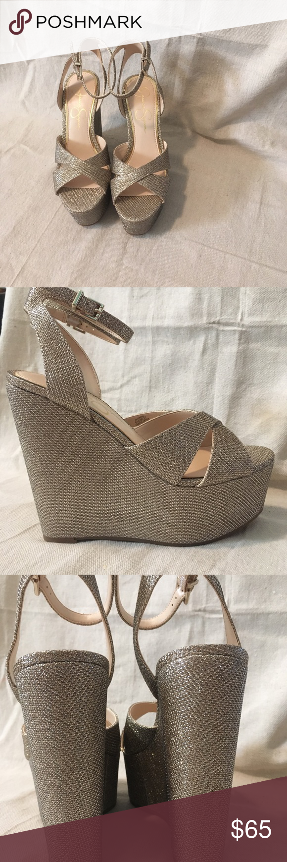 787d1449106 Jessica Simpson prena gold Jessica Simpson Prena platform wedge in gold  mesh. They are a