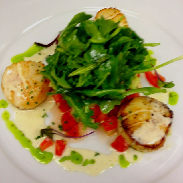 Pan seared scallops with watermelon and cucumber salad