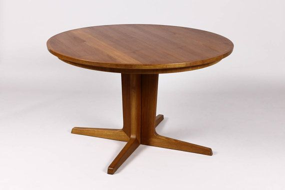 Vintage Danish Modern Mid Century Teak Large Round Expandable Dining Table With Split Pedestal Base On Etsy 1 595 00