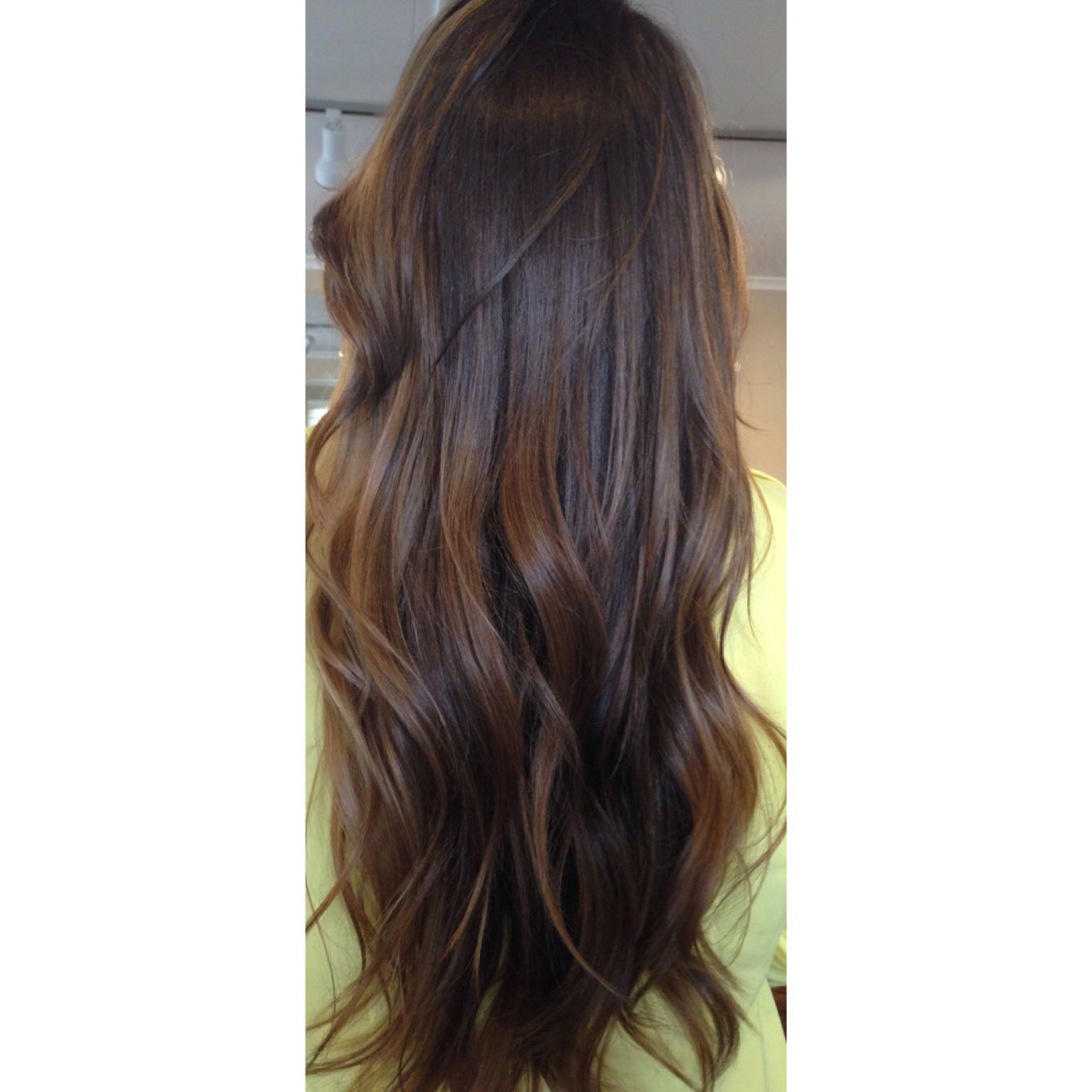 Long Chocolate Brown Brunette Dark Hair Highlights Balayage And Freehand Painted Throughout Natural Level 3