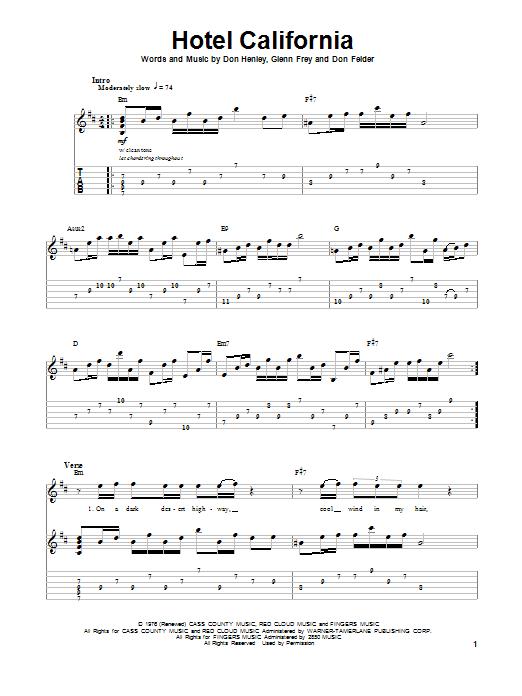Hotel California - Eagles in 2020 | Guitar tabs. Guitar tabs songs. Easy guitar songs