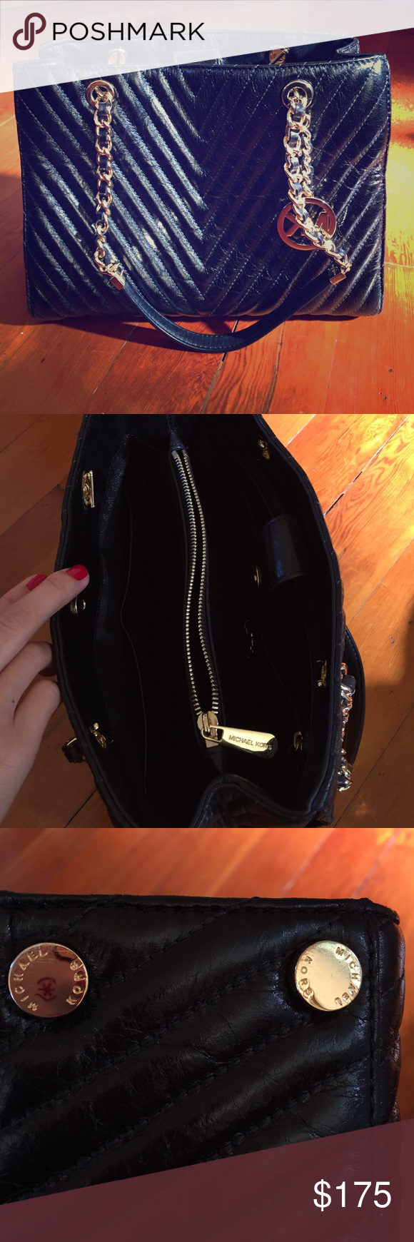Michael Kors shoulder bag black Beautiful used once Michael Kors bag looking for a good home. It has ample inside zips and compartments. Length is 11.5, height is 9, and depth is roughly 4. Will have dust bag. Michael Kors Bags Shoulder Bags