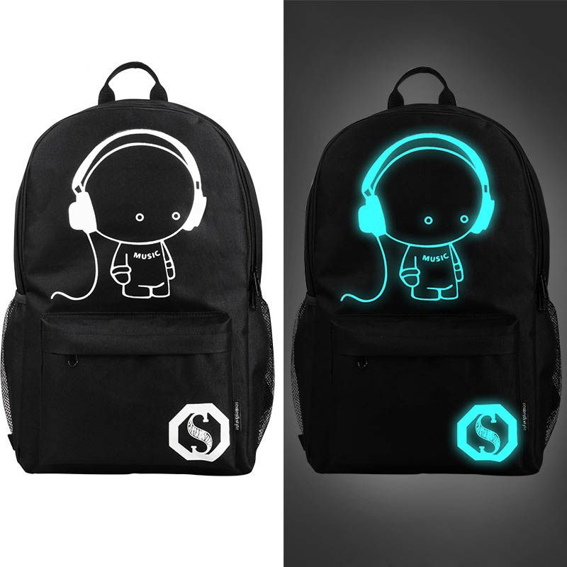 228280b76efa Fashion Luminous Backpack For Teenage Girls Music Boy Travel Laptop School  Bags Zipper Printing Backpacks Bolsas Mochila Escolar