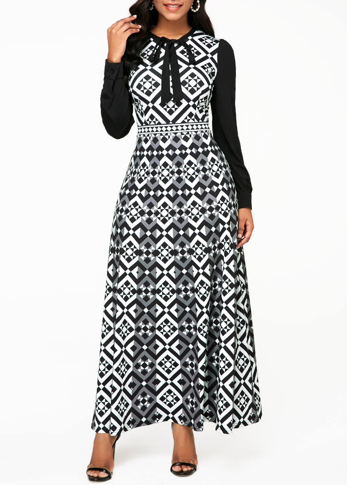 Geometric print bowknot detail long sleeve maxi dress dress styles