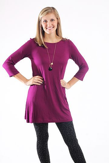 Boatneck Tunic, Magenta $39.00 This tunic is simple, yet you can do so many things with it! Add any accessory, or add leggings and make it a tunic like we did. You cannot go wrong with the solid color, and this one is super soft!   Runs generous. Kalan is wearing the XS.  length:  xsmall=32, small=33, and medium=34