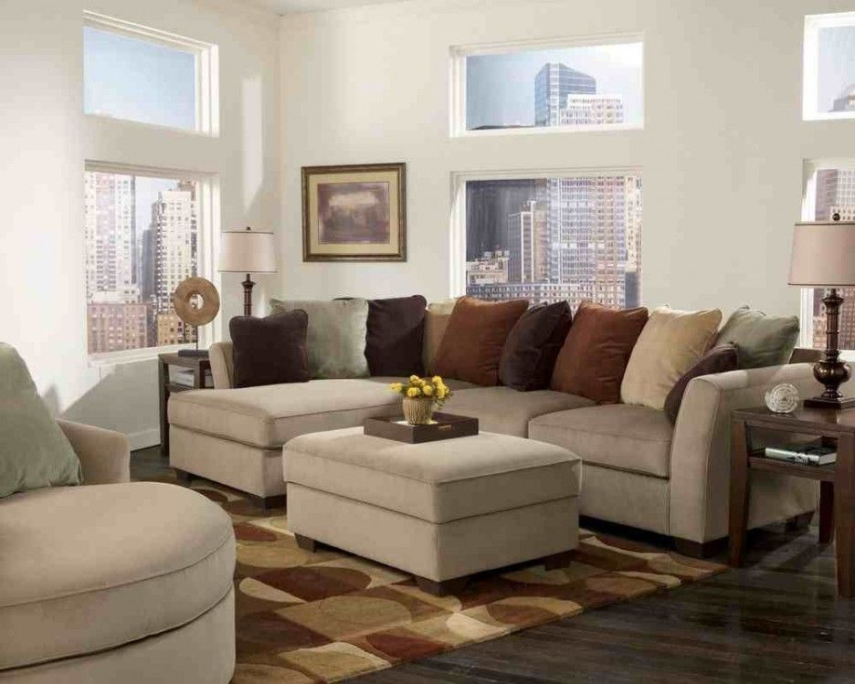 Living Room Ivory Leather Small Living Room Sofa With Soft Dark Brown Pattern Floor Carpet A Living Room Sofa Small Space Living Room Small Living Room Decor