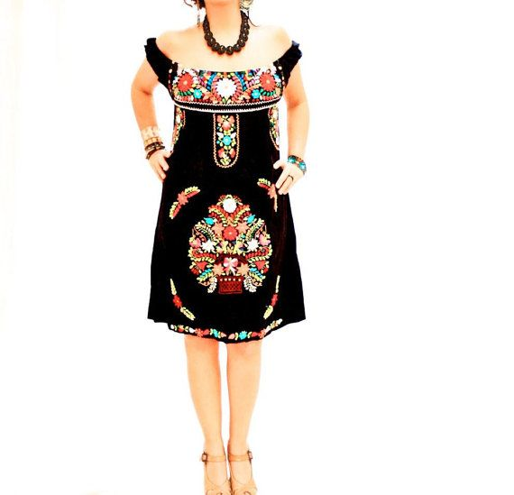 De Noche beautiful black Mexican embroidered off shoulder dress