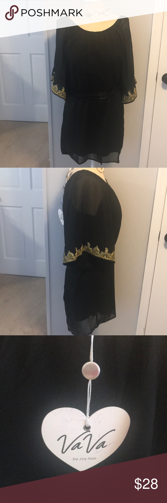 Black Dress With Gold Accents On Sleeves Black Dress With Gold Accent Sleeves Looks Great With A Thin Black Silk Fashion Tips Clothes Design Colorful Dresses [ 1740 x 580 Pixel ]