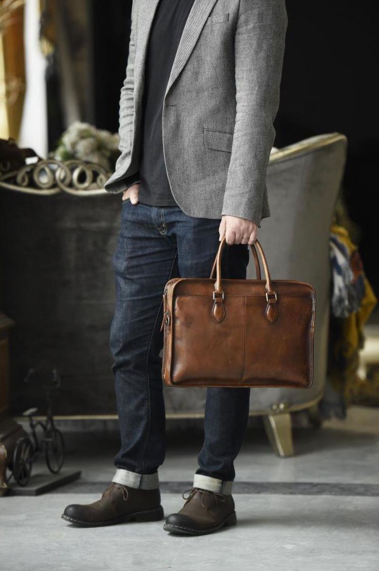 Mens Medium Genuine Leather Portfolio Laptop Briefcase Single Shoulder Work Bag