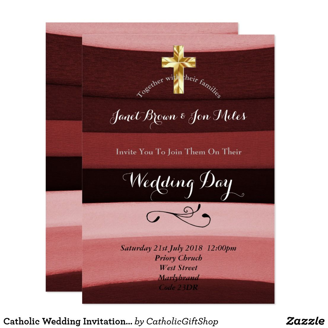 Catholic Wedding Invitation Burgundy Stripes | Trending Wedding ...
