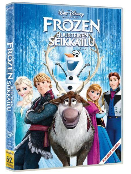 Frozen, Huurteinen seikkailu -DVD   Kuningasperheen tyttären jäätävät taikavoimat ovat suistaneet maan ikuiseen talveen. Anna lähtee etsimään sisartaan, joka voi palauttaa kesän. Kesto 1 t 48 min. 7+