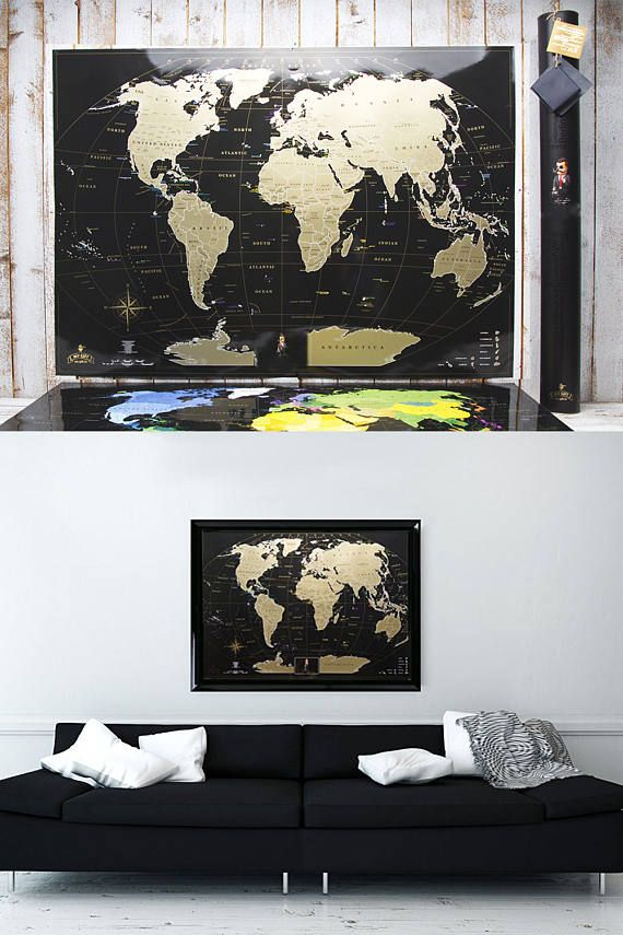 Full color deluxe black scratch off map places ive been want explore world map poster scratch off and more gumiabroncs Image collections