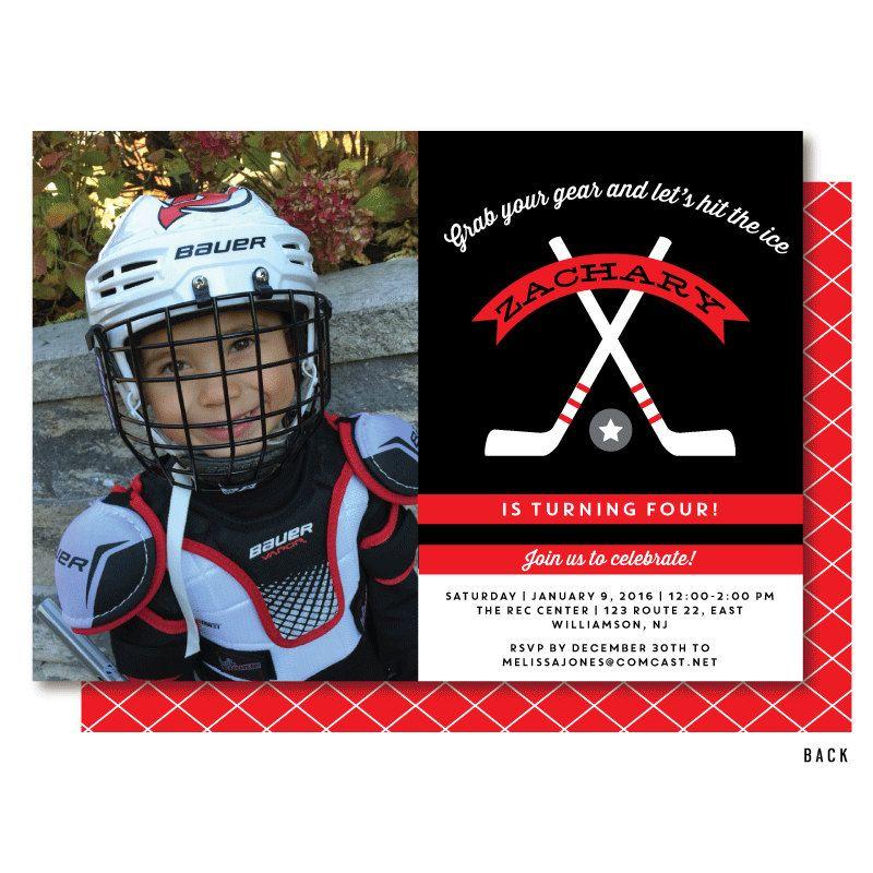 Hockey Photo Invitation Hockey Party Invitations by DelightPaperie