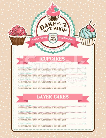 Bake Shop Or Cafe Stickers Menu With Cupcake And Ribbon There Is