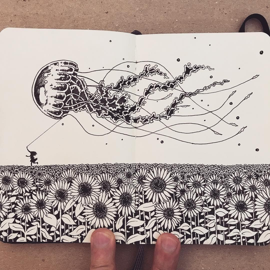 Moleskine Black and White Ink Drawings