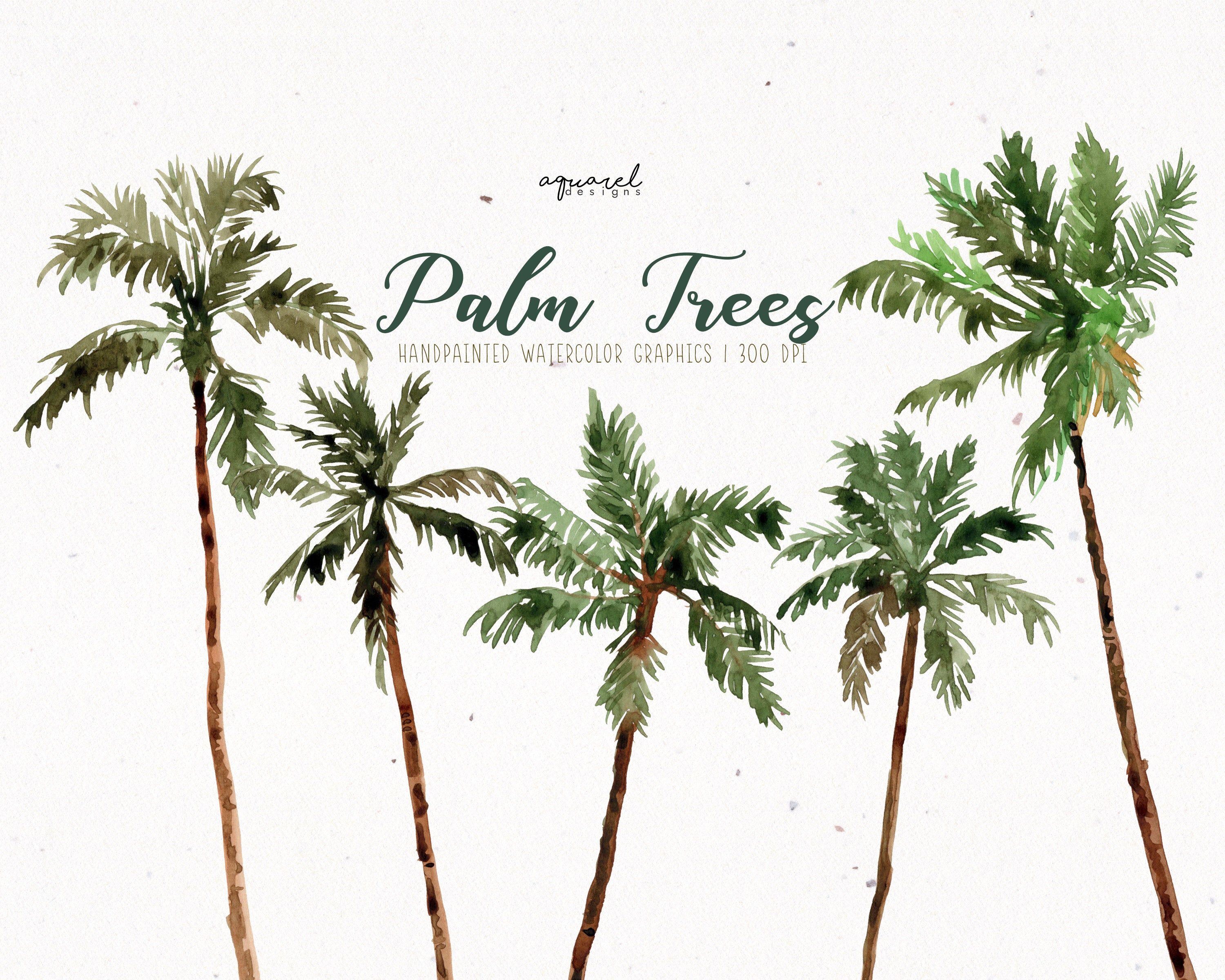 Coconut Palm Trees Clipart Watercolor Clipart Watercolor Palm