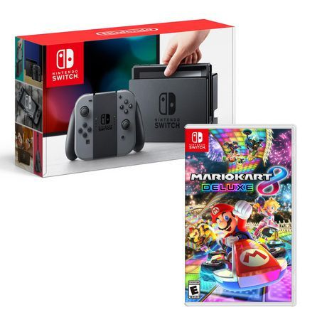 Nintendo Switch Grey Console With Mario Kart 8 Deluxe Bundle