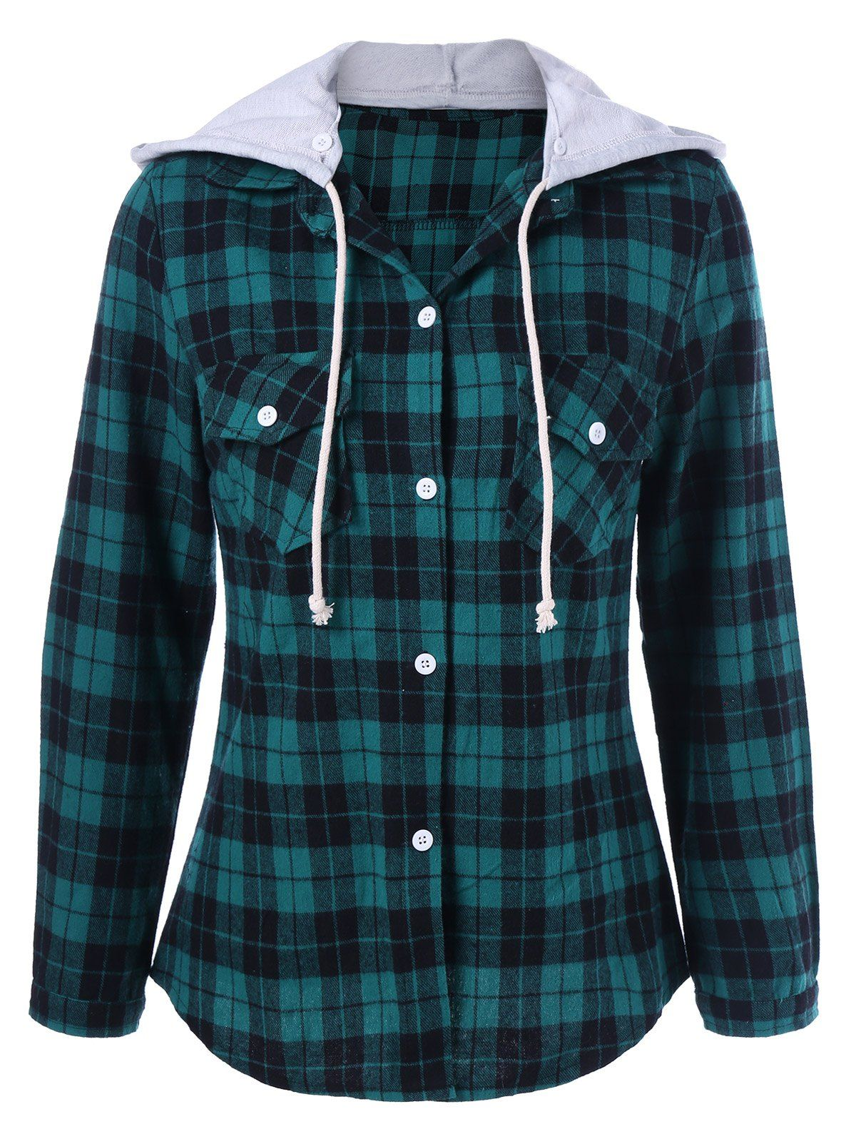a104ae887d5 Plaid Hooded Flannel Shirt Hoodie - GREEN 3XL | DRESSLILY.COM ...