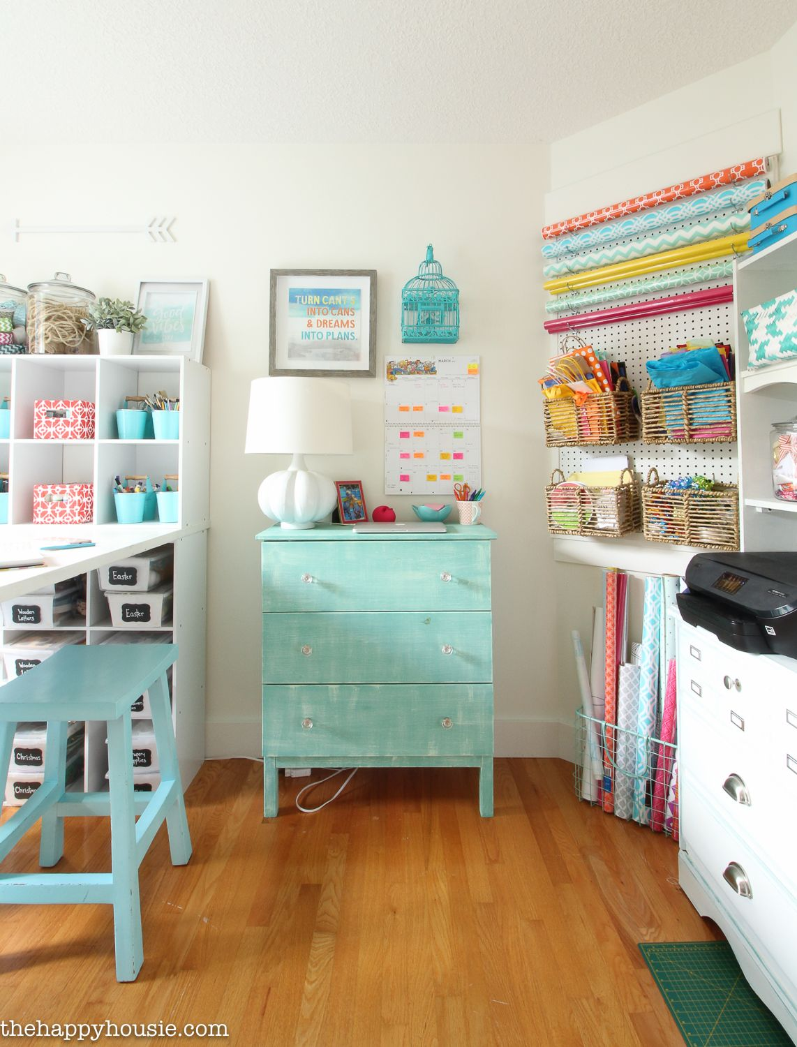 How To Organize A Craft Room Work Space The Happy Housie Small Craft Rooms Craft Room Storage Craft Room Design